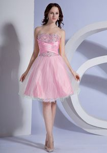 Beading Decorated Baby Pink Homecoming Queen Dresses in A-line