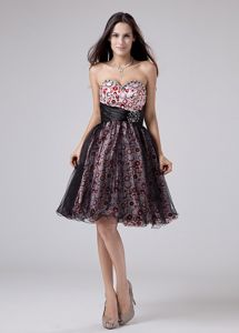 Beading A-Line Printing and Black Organza Homecoming Dance Dress