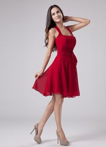 Red Halter Junior Homecoming Dress in A-Line to Knee-length in Nevada