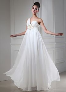 One Shoulder Vintage Homecoming Dresses with Beading in Empire