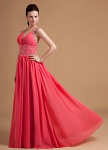 Hawaii Watermelon Halter Inexpensive Homecoming Dress with Beaded