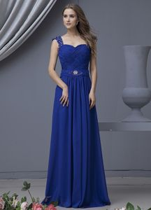 Beading Decorated Straps Inexpensive Homecoming Dresses in Blue