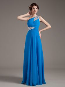 Beading Decorated One Shoulder Blue Homecoming Dresses for Juniors