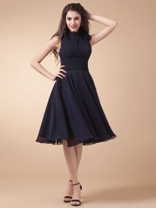 High-neck and Ruched Bodice for Navy Blue Short Homecoming Dresses