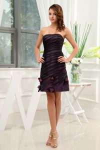 Dark Purple Homecoming Dress Decorated Petals Covered Black Tulle