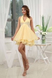 New Mexico Halter Yellow Mini Homecoming Court Dress with Appliques