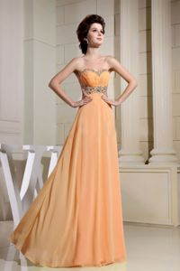 Nevada Beaded Waist and Sweetheart for Homecoming Dress in Orange