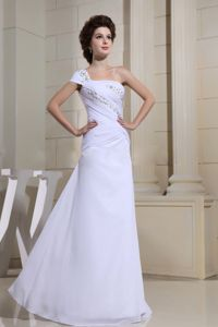 White Beaded Decorated One Shoulder for Evening Homecoming Dress