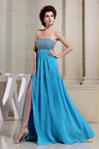 High Slit and Beaded Decorated Bust for Aqua Blue Homecoming Dress
