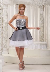 Florida Beaded Decorated Waist Leopard Party Dress for Homecoming