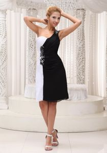 White and Black Prom Homecoming Dress with Beading One Shoulder