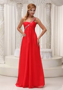 Beaded Decorated One Shoulder Homecoming Queen Dresses in Red
