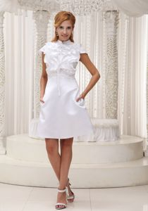 Indiana High-neck White Ruffled Bust Mini Celebrity Homecoming Dress