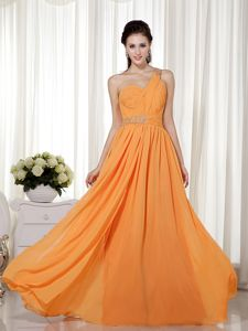 Orange Red Sheath One Shoulder Beading Vintage Homecoming Dress