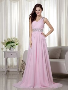 Beaded Sash for Baby Pink One Shoulder Beading Homecoming Dress