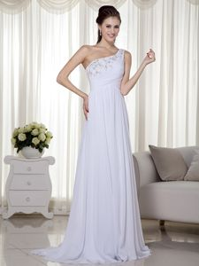 Asymmetrical One Shoulder Beading Celeb Homecoming Dress in White