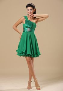 Green One Shoulder Mini-length Homecoming Queen Dresses in Federalsburg