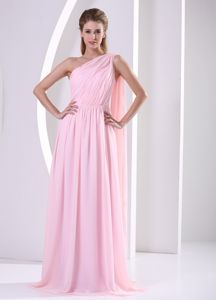Discount Baby Pink One Shoulder Homecoming Dresses with Watteau Train