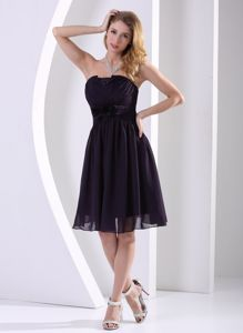 Black Strapless Knee-length Inexpensive Homecoming Dresses in Darnestown
