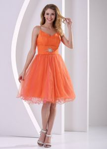 Spaghetti Straps Designer Homecoming Dresses in Orange Red in Knee-length