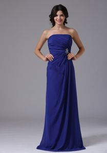 Peacock Blue Strapless Floor-length Homecoming Cocktail Dress in Stratton