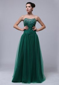 Sweetheart Empire Floor-length Dark Green Homecoming Dress with Beading