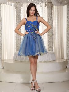 Blue Straps Mini-length Sparkly Homecoming Dresses with Appliques in Perry
