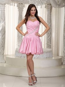 Ruched Pink Sweetheart Mini-length Vintage Homecoming Dresses in Phillips