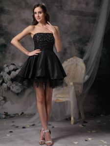 Beautiful Black Strapless Short Puffy Sparkly Homecoming Dress in Rangeley