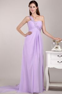 One Shoulder Empire Watteau Train Homecoming Dress for Prom in Lavender