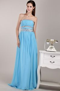 Aqua Blue Empire Strapless Inexpensive Homecoming Dresses in Floor-length