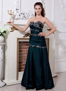 Sweetheart Floor-length Peacock Green Homecoming Dresses with Embroidery
