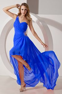 One Shoulder High-low Royal Blue Celebrity Homecoming Dresses in Lebanon