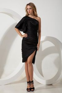 Black Column One Shoulder Black Party Dress for Homecoming with Ruching