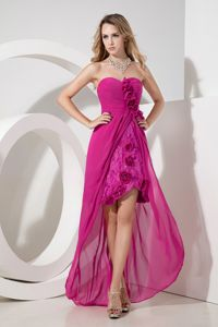 Chic Fuchsia Sweetheart High-low Homecoming Dress for Prom with Flowers