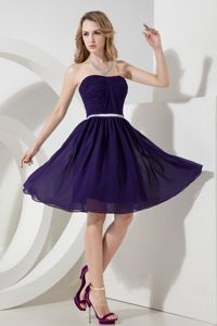 Purple A-line Strapless Sparkly Homecoming Dresses in Knee-length in Kittery