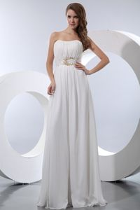 White Empire Strapless Floor-length Tight Homecoming Dresses in Kennebunk