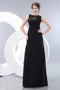 Simple Bateau Floor-length Evening Homecoming Dresses in Black in Jackman