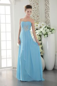 2013 Aqua Blue Sweetheart Homecoming Dress with Brush Train and Beading