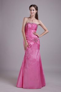 Beaded Strapless Floor-length Rose Pink Homecoming Dresses in Edgecomb
