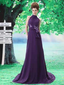 Purple High-neck Brush Train Homecoming Cocktail Dresses with Appliques