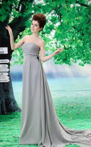 Custom Made Grey Strapless Empire Homecoming Dresses with Court Train
