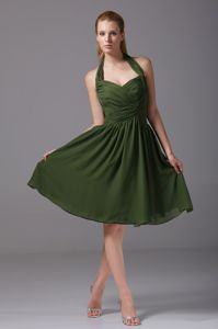 Trenton NJ Halter Top Ruches Homecoming Dresses On Sale in Dark Green