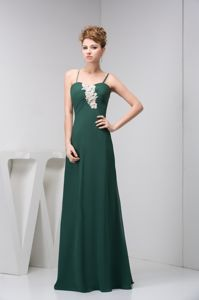 Dark Green Spaghetti Straps Homecoming Dress with Appliques in Pau France