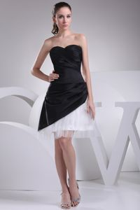 Black and White Sweetheart Homecoming Dress with Ruches in Trenton NJ