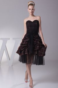 Sweetheart Plaid Homecoming Dresses with Sash and Pick-ups in Bismarck ND