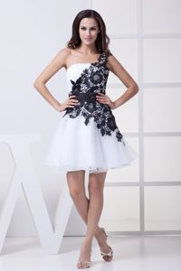 One Shoulder Homecoming Dresses with Black Lace Flowers in Raleigh NC