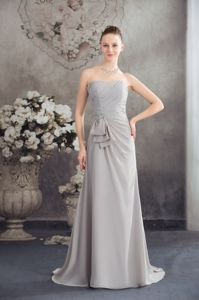 Tours France Beaded Ruched Homecoming Dresses in Gray with Half Bowknot