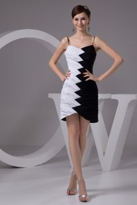 White and Black Homecoming Dresses with Spaghetti Straps in Albany NY