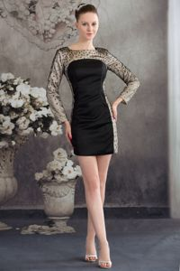 Black Column Beaded Homecoming Dress with Long Sleeves in Paris France